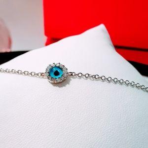 Women's Bracelet Blue Evil Eye Silver Jewelry